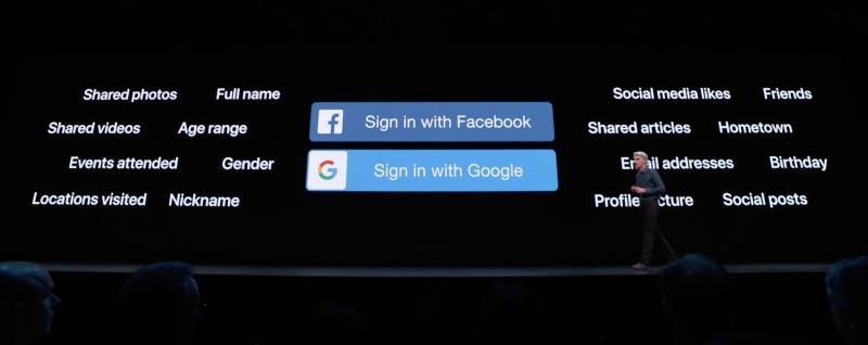 Applen mukaan kilpailevat kirjautumispalvelut vuotavat paljon tietoja käyttäjistä. Apple pyrkii pitämään parempaa huolta yksityisyydestä.