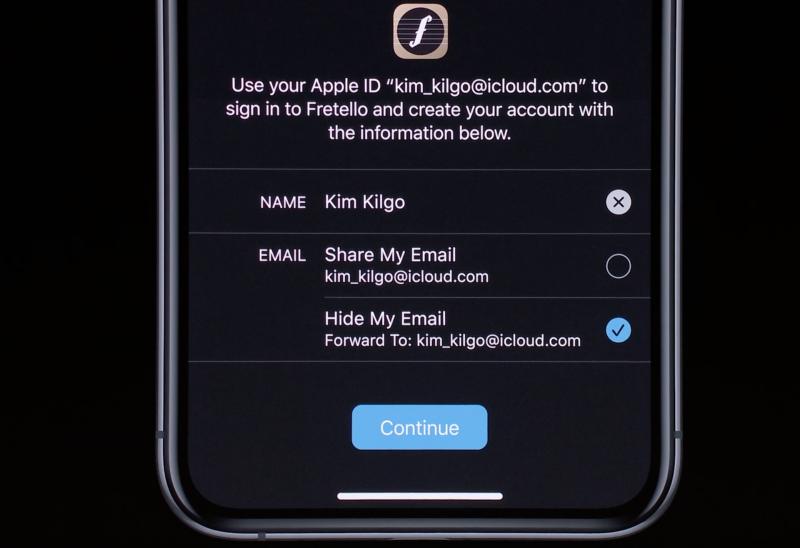 Apple-tilin avulla kirjautumisessa voi piilottaa oikean sähköpostiosoitteensa palveluilta, joihin rekisteröidytään.