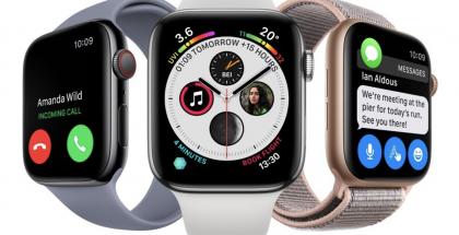 Apple Watch Series 4. Cellular-mallin erottaa punaisesta väristä pyöritettävässä kruunupainikkeessa.