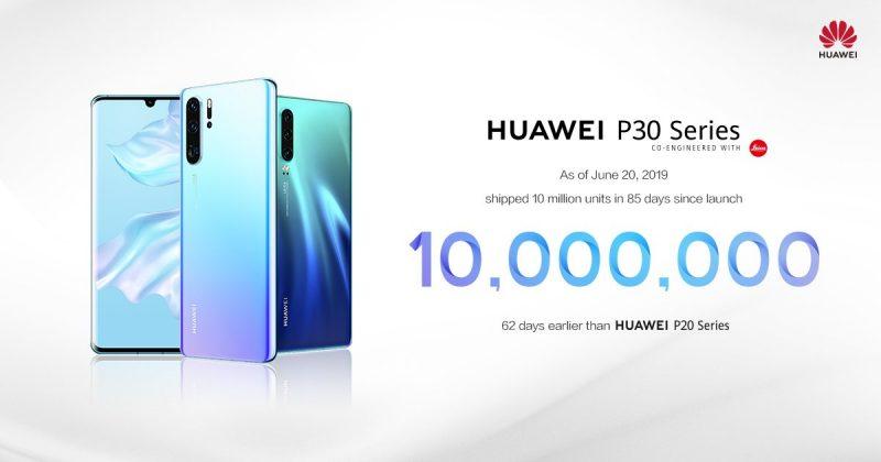 Huawei P30 -sarjan älypuhelinten toimitukset ylittivät 10 miljoonan rajan.