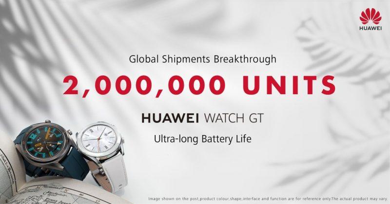 Huawei Watch GT:n toimitukset ovat ylittäneet 2 miljoonan rajan.