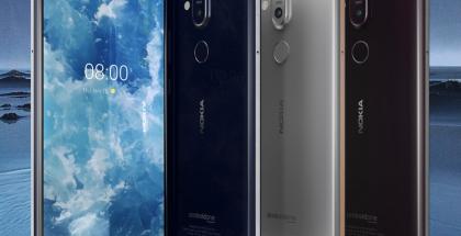 Nokia 8.1:n eri värivaihtoehdot. Uusi vaihtoehto rauta/teräs oikealla.