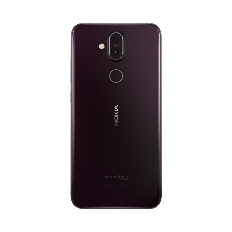 Nokia 8.1:n rauta/teräsväri.