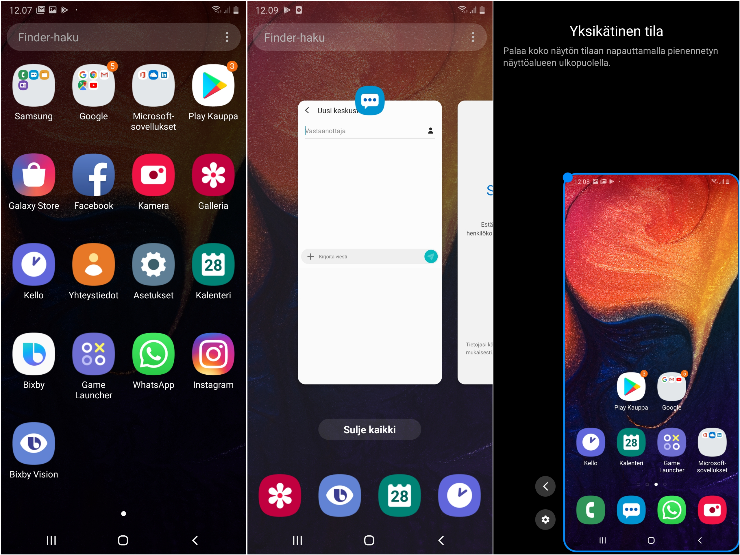 Kuvakaappauksia One UI -käyttöliittymästä.