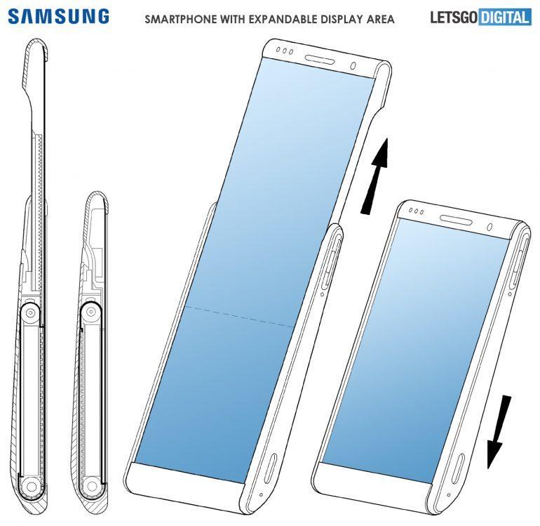 Samsungin aiemmassa patentissa esittelemässä ratkaisussa näyttö kiertyy puhelimen sisälle ja nousee esille liu'uttamalla.