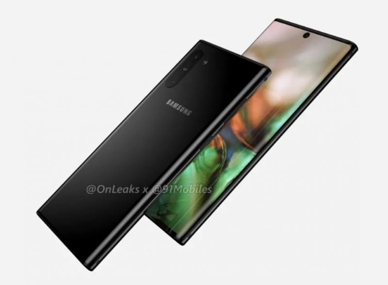 Samsung Galaxy Note10. OnLeaksin ja 91mobiles-sivuston julkaisema mallinnoskuva.