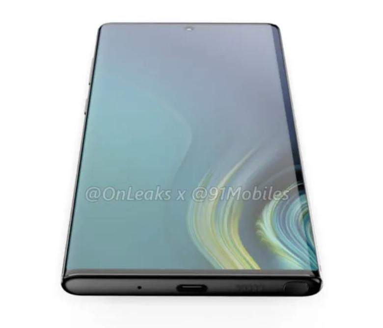 Samsung Galaxy Note10. Pohjassa USB-C-liitännän lisäksi paikka S Penille sekä aukot mikrofonille ja kaiuttimelle. OnLeaksin ja 91mobiles-sivuston julkaisema mallinnoskuva.