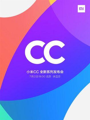 Xiaomin CC-sarjan ensimmäiset älypuhelimet julkistetaan 2. heinäkuuta.