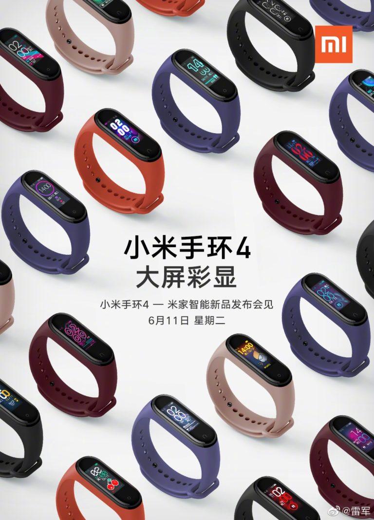 Xiaomi-pomon jo jakama kuva Mi Band 4 -rannekkeista.