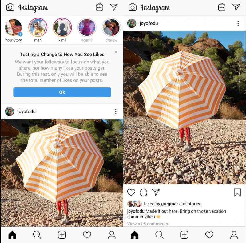 Tältä Instagram näyttää ilman tykkäyksiä.