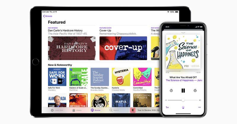 Applen Podcastit-sovellus iPadissa ja iPhonessa.