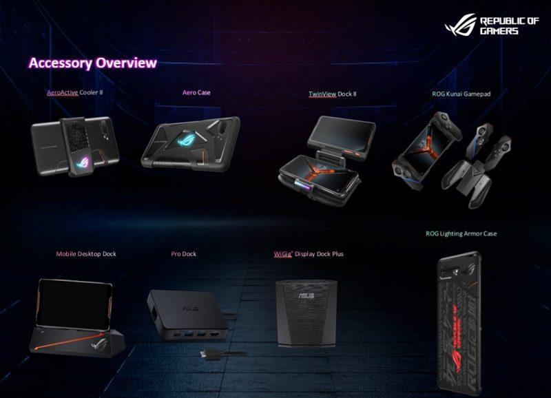Asus ROG Phone II:n varusteita.