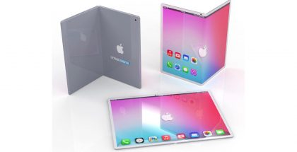 Konseptikuva taittuvanäyttöisestä iPadista.