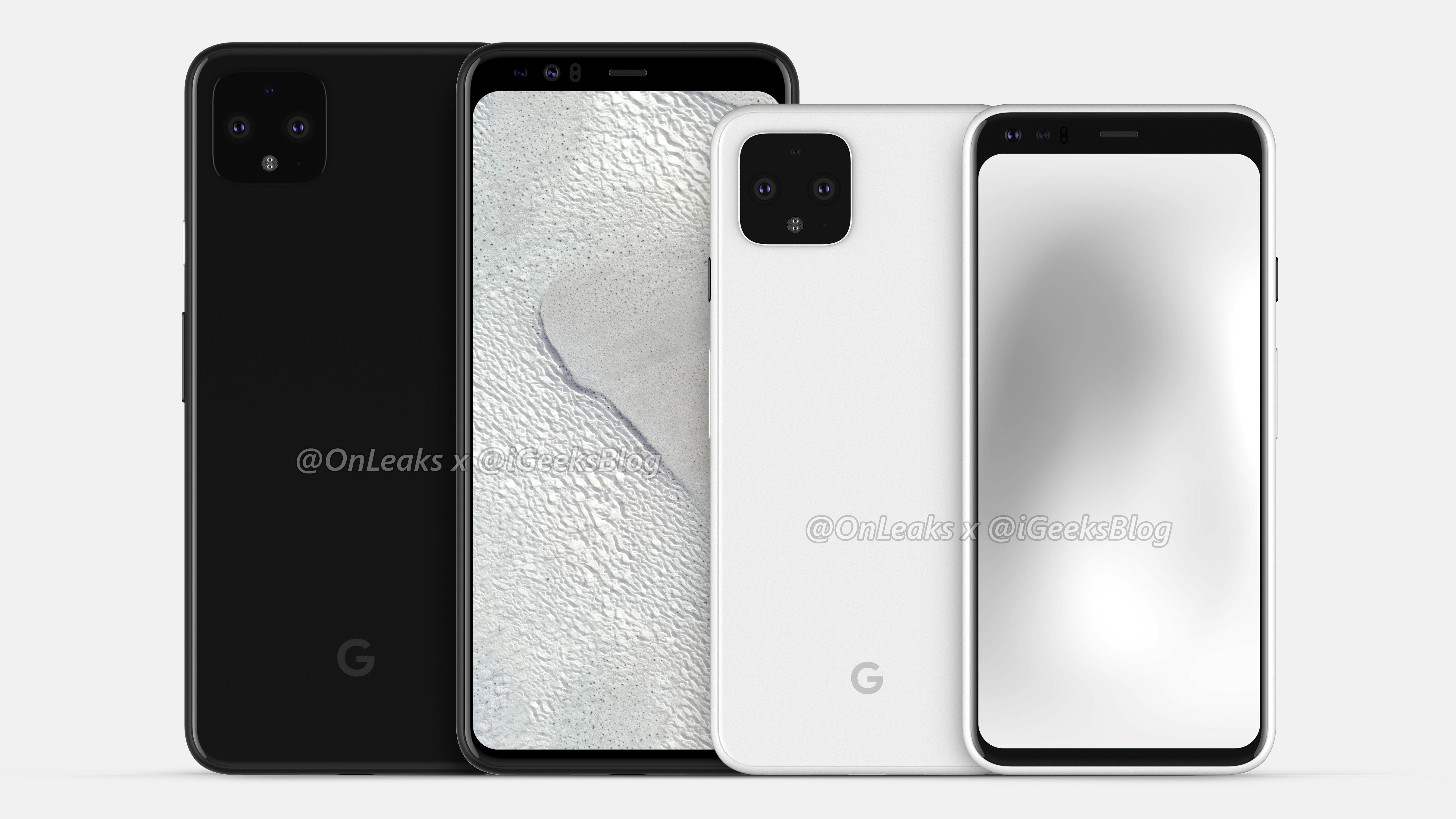 Google Pixel 4 ja Pixel 4 XL -mallinnos. Kuva: OnLeaks / iGeeksBlog.