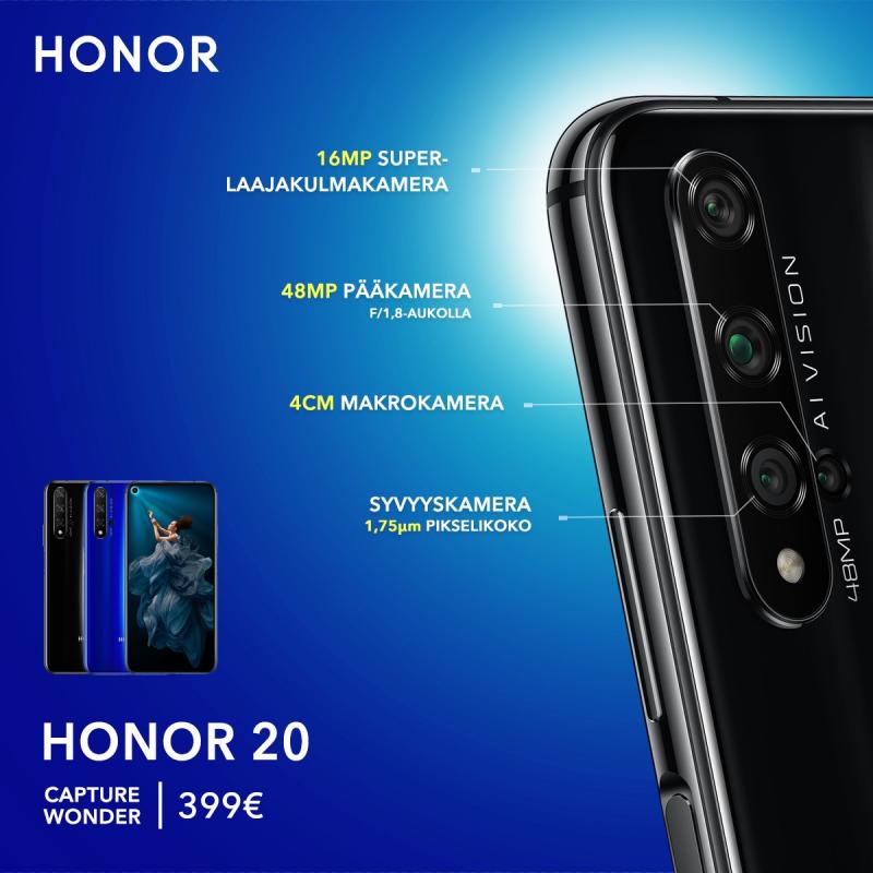 Honor 20:ssä on neljä erilaista kameraa, jotka tuovat kukin oman lisänsä kokonaisuuteen.