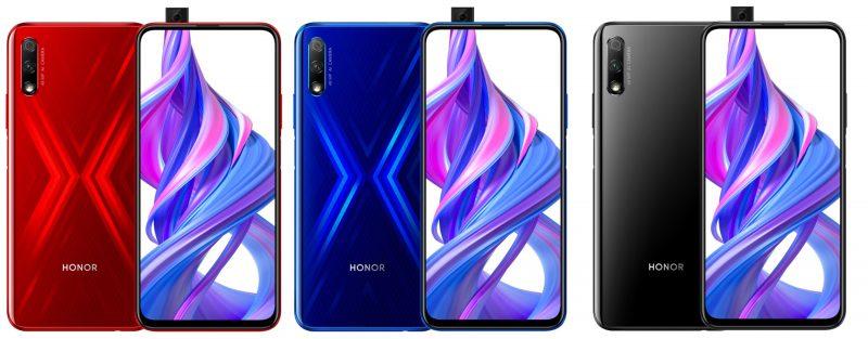 Honor 9X:n värivaihtoehdot.