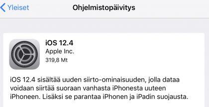 iOS 12.4 tuo muun muassa uuden tiedonsiirto-ominaisuuden.