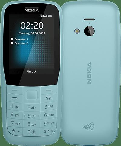 Nokia 220 4G sinisenä.