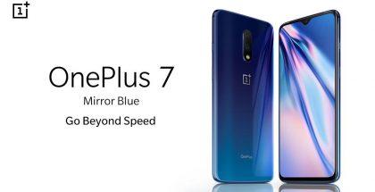 OnePlus 7:n uusi sininen Mirror Blue -väri.
