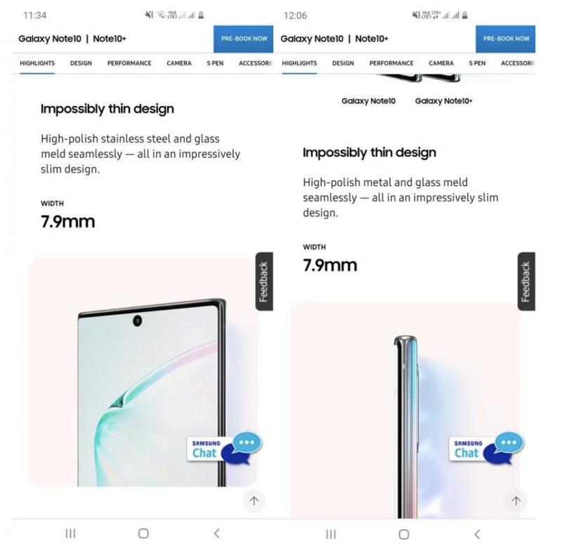 Samsung kertoi sivuillaan materiaalina ensin ruostumattomasta teräksestä, nyt vain metallista. Kuva: SamMobile.