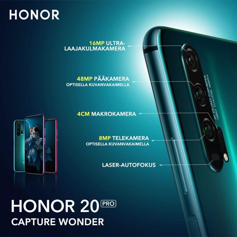 Honor 20 Pron kamerakokonaisuus on markkinoiden monipuolisin kuvausmahdollisuuksiltaan.