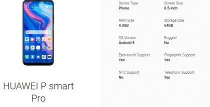 Huawei P Smart Pron Googlen sivuilla.