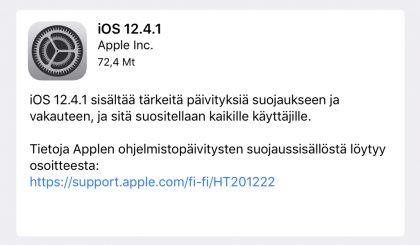 iOS 12.4.1 on nyt ladattavissa.