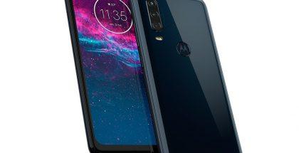 Motorola One Action on varustettu 21:9-kuvasuhteen näytöllä, reikänä näytöstä löytyvällä etukameralla sekä kolmella takakameralla.
