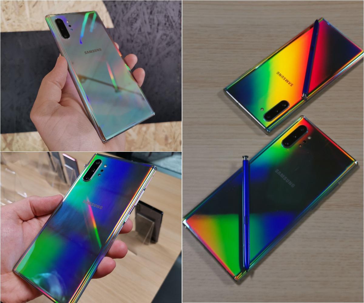 Kuten kuvat kertovat, Galaxy Note10 -puhelinten Aura Glow -värivaihtoehto on varsin erikoinen. Puhelin näyttää eri valaistuksessa ja valon osuessa eri kulmista hyvin erilaiselta.
