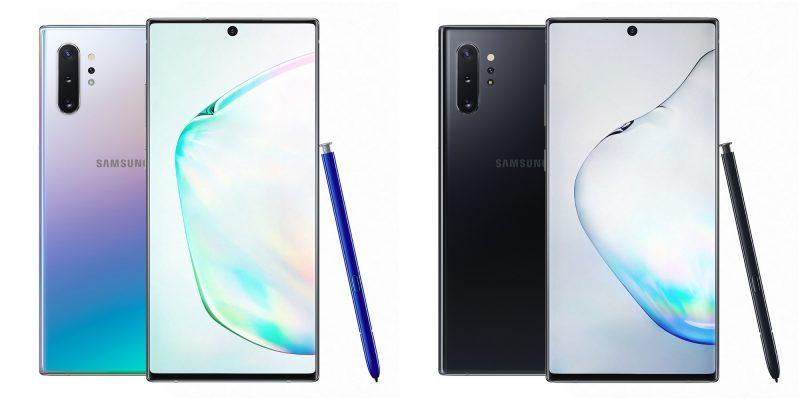 Samsung Galaxy Note10+ Aura Glow ja Aura Black.