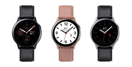 Samsung Galaxy Watch Active2:n eri tyylivaihtoehdot ruostumattolla teräsrungolla.