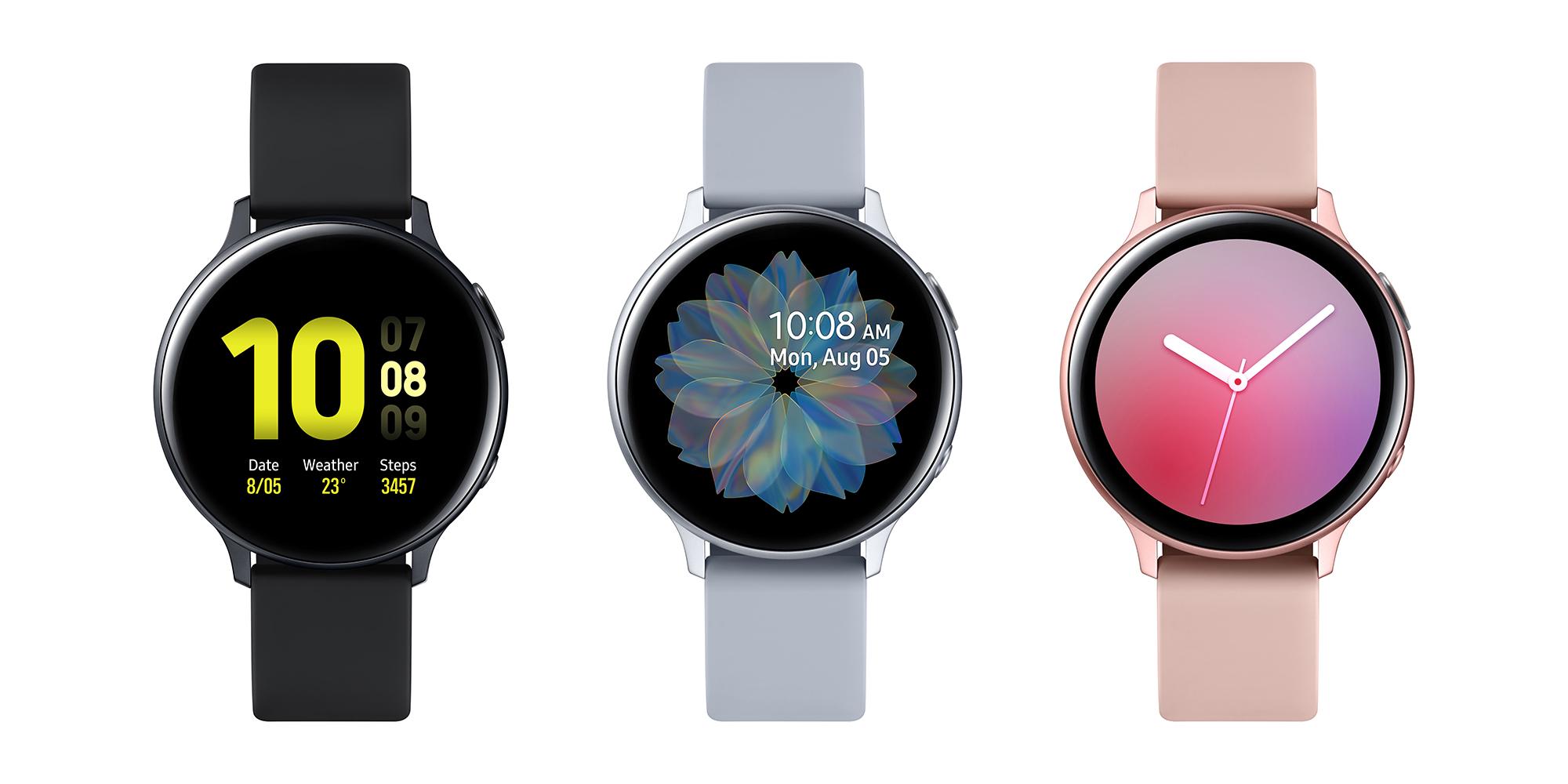 Samsung Galaxy Watch Active2:n eri tyylivaihtoehdot alumiinirungolla.
