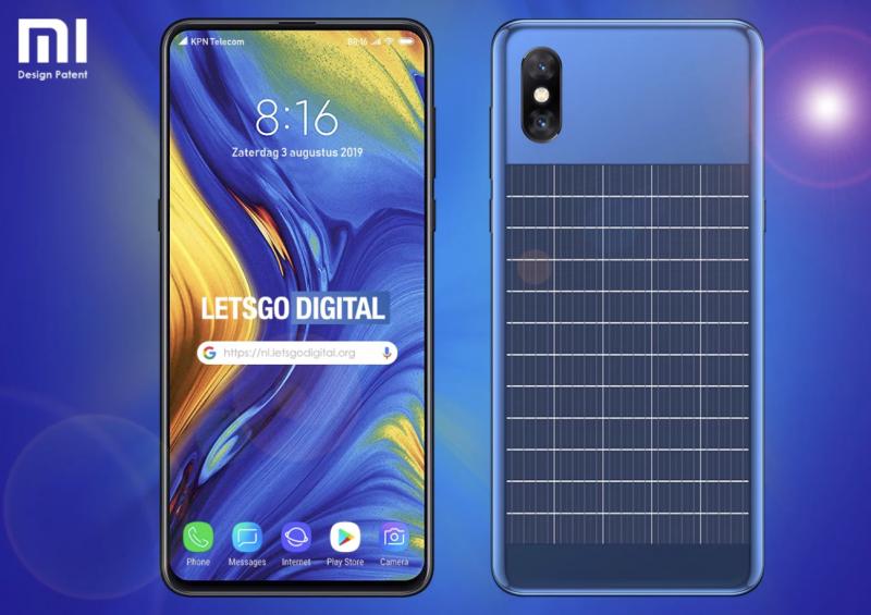 Lets Go Digital -sivuston luoma mallinnos Xiaomi-aurinkopaneelipuhelimesta.