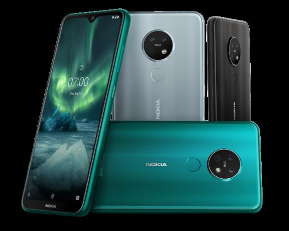 Nokia 7.2 eri värivaihtoehtoina.