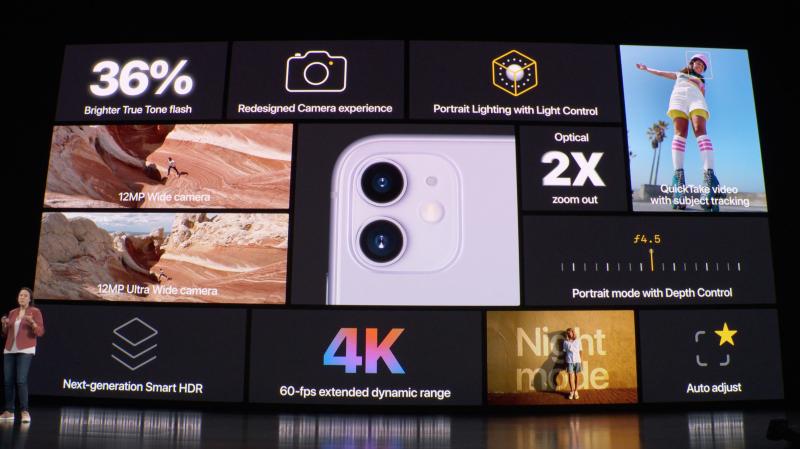 iPhone 11:ssä on kaksi takakameraa, pääkamera ja ultralaajakulmakamera.