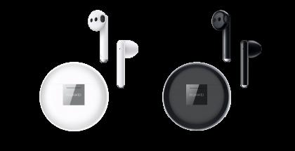 Huawei FreeBuds 3 -kuulokkeiden ja latauskotelon värivaihtoehdot, valkoinen ja musta.