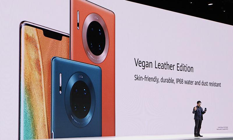 Huawei kutsuu tekonahkaa nyt vegaaninahaksi Mate 30 -puhelinten yhteydessä.