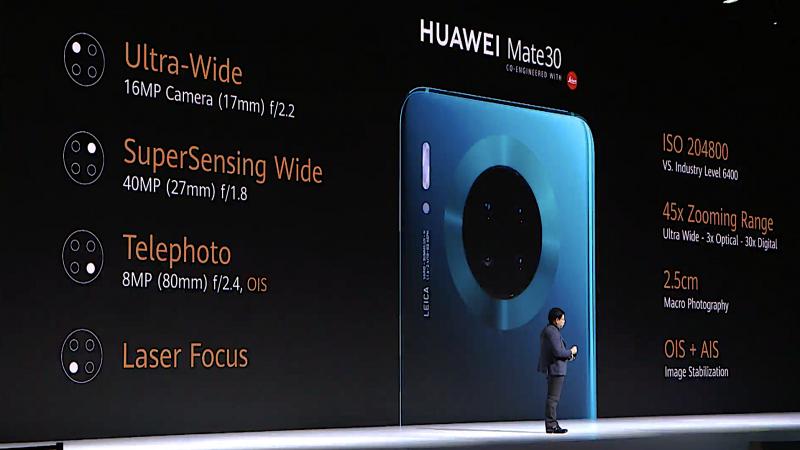 Huawei Mate 30:ssä kolme takakameraa.