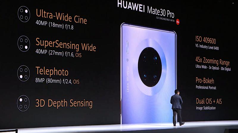 Huawei Mate 30 Prossa neljä takakameraa.