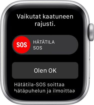 Apple Watch Series 4 tai uudempi osaa havaita kaatumisen ja tarjoaa helpon tavan soittaa hätäpuhelu. Jos käyttäjä on kaatumisen jälkeen liikkumatta noin puolitoista minuuttia eikä reagoi kellon viesteihin, soittaa kello hätäpuhelun itse automaattisesti.