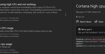 Cortanaan liittyvä ohjelmakomponentti aiheuttaa ongelmia, jotka näkyvät merkittävänä suoritin- ja muistikäyttönä.