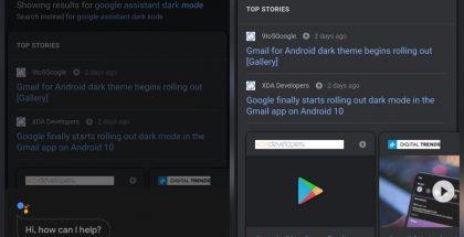 Google-sovelluksen tumma tila.