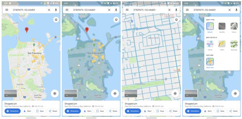 Google Mapsin Street View'n saatavuuden osoittava karttanäkymä helpottaa käyttöä. Kuvat: 9to5Google.