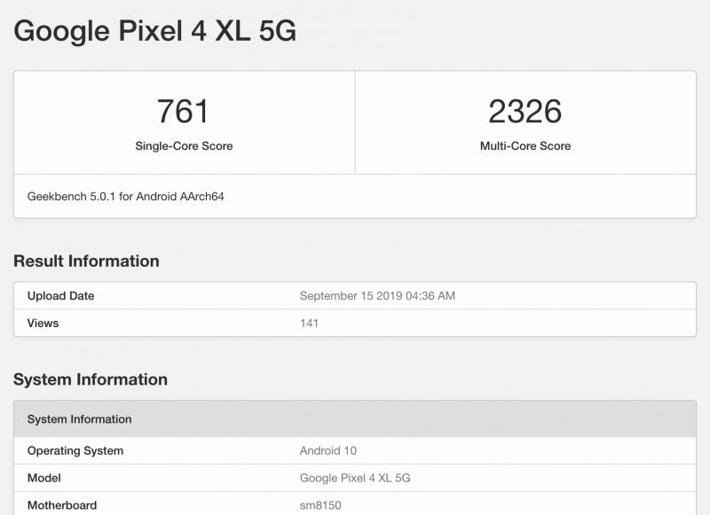 Google Pixel 4 5G, kuvankaappaus GeekBenchistä.