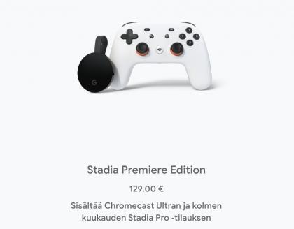 Google Stadian nyt ennakkotilattavissa oleva Premiere Edition -paketti.