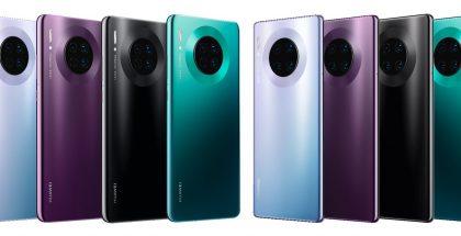 Vasemmalla Huawei Mate30, oikealla Huawei Mate30 Pro. Neljä eri värivaihtoehtoa.