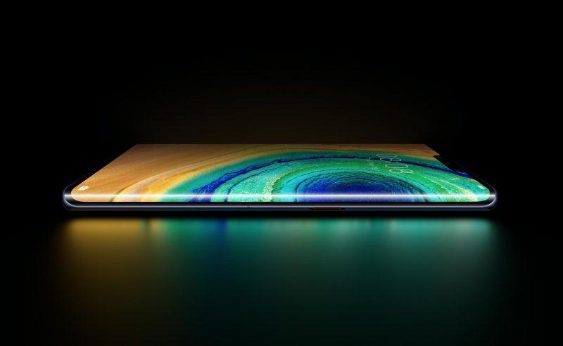 Huawei Mate30 Pron näyttö kaartuu merkittävästi puhelimen kyljille. Kuva: Evan Blass.