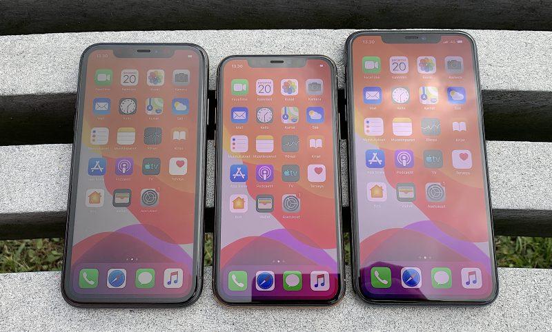 6,1 tuuman iPhone 11, 5,8 tuuman iPhone 11 Pro ja 6,5 tuuman iPhone 11 Pro Max.