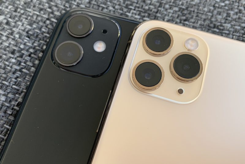Kamerakohouman koko on iPhone 11:ssä ja iPhone 11 Pro -malleissa sama vaikka ensin mainitussa kameroita on kolmen sijaan vain kaksi.