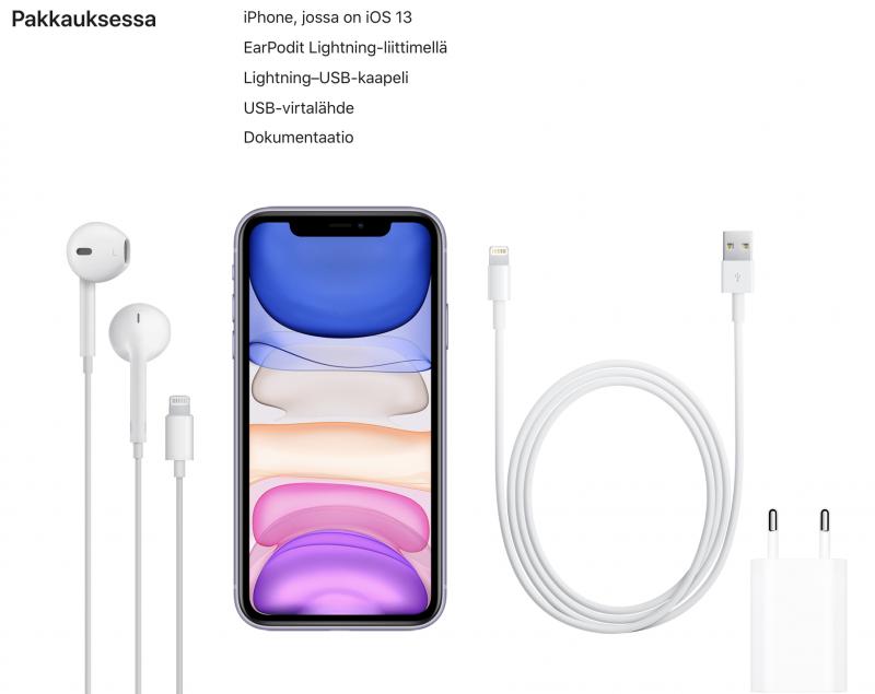 iPhone 11:n pakkauksen osalta on tyytyminen yhä vanhaan tuttuun 5 watin laturiin ja USB-A-Lightning-kaapeliin.